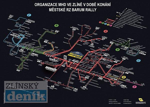 Mapa organizace dopravy během páteční RZ