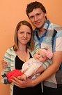 Vítání občánků 24.4.2015 na radnici ve Zlíně. Martina Langerová a Stanislav Petrů s dcerou Amálií Petrů.