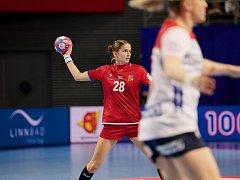 Střední spojka Šárka Marčíková odehrála padesátý zápas v české reprezentaci. Norsku vstřelila čtyři góly.