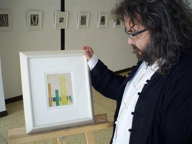 Obraz Františka Kupky na výstavě.
