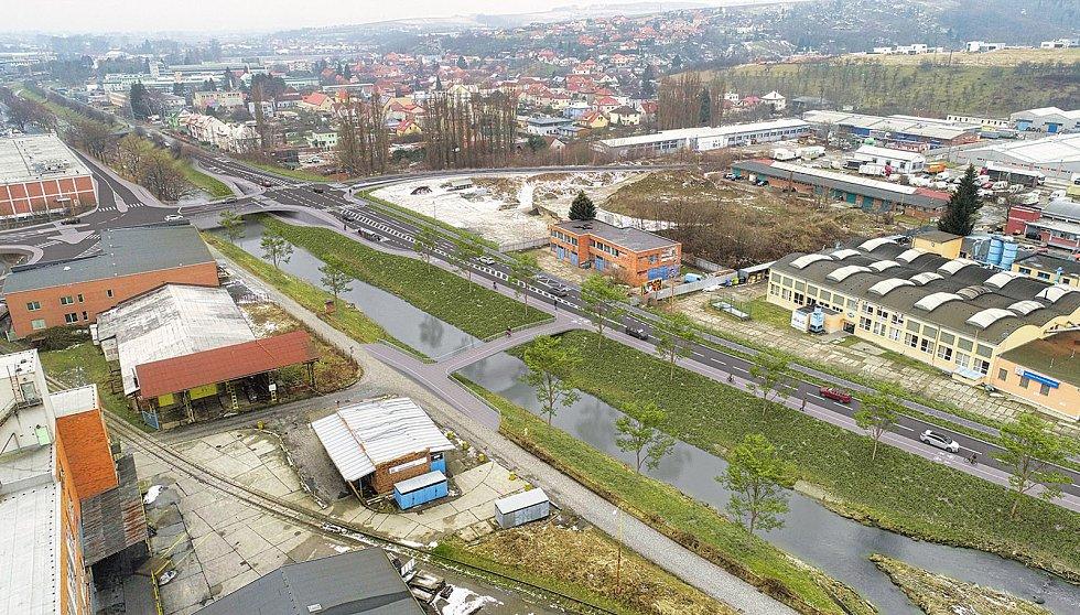 Vizualizace pravobřežní silnice propojující místní část Prštné s lokalitou Podbaba pod Jižními Svahy