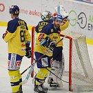 Extraligoví hokejisté Zlína (vš žlutém) v nedělním 26. kole doma hostili mistrovskou Kometu Brno. Na snímku kapitán Zlína Žižka.