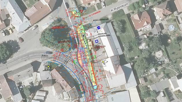 V místní části Prštné v křižovatce ulic Náves a Kútiky začíná realizace koncové zastávky MHD.