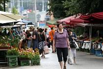 Tržnice Pod kaštany v centru Zlína.