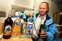Zabavený alkohol policií ČR ve Zlíně.