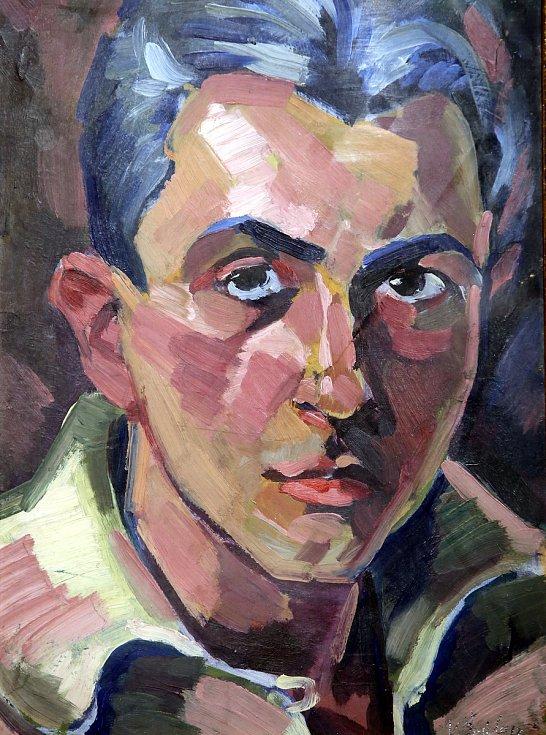 Výstava Velikáni českého umění ve Filmovém uzlu ve Zlíně.Josef Špála  Portrét muže  1917 olej