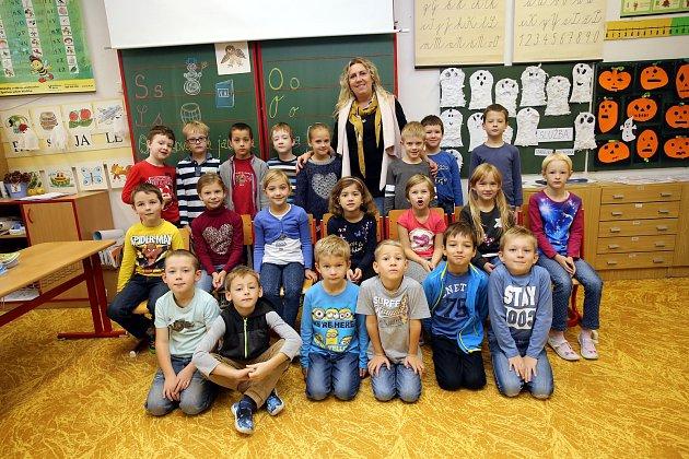Třída 1.C zlínské Základní školy Křiby střídní učitelkou Janou Kubíčkovou.