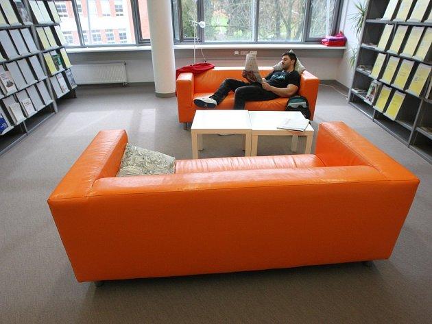 Relaxační místnost v univerzitní knihovně ve Zlíně