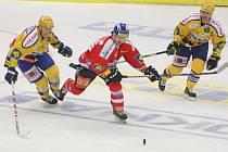 Druhý zápas čtvrtfinále play off hokejové extraligy: Zlín – Pardubice.