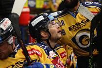 Extraligoví hokejisté PSG Berani Zlín (ve žlutém) po reprezentační přestávce v rámci 21. kola doma hostili Kometu Brno. Na snímku Honejsek