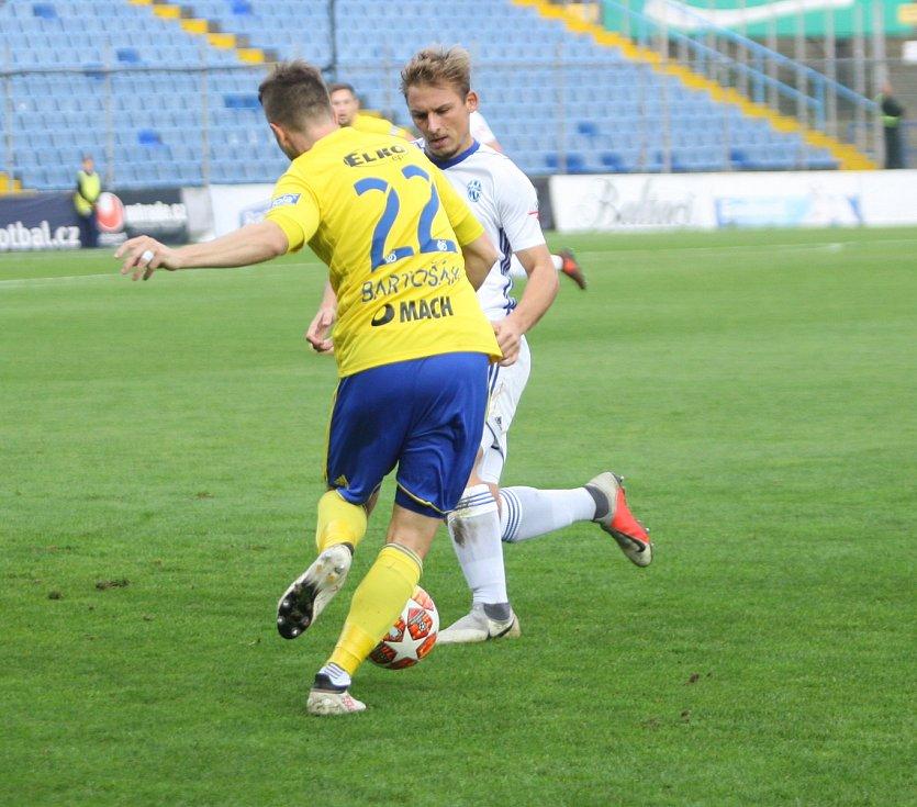 Prvoligoví fotbalisté Fastavu Zlín (ve žlutém) v sobotním 13. kole Fortuna:ligy hostili Mladou Boleslav.