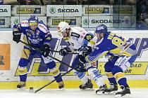 Hokejová extraliga: HC Kometa Brno (bílá) - PSG Zlín (modrá)