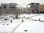 Vydatná sněhová nadílka ve Zlíně.