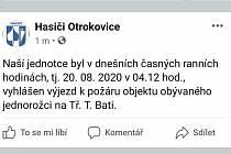 Hasiči sdíleli na svém Facebooku informaci o výjezdu