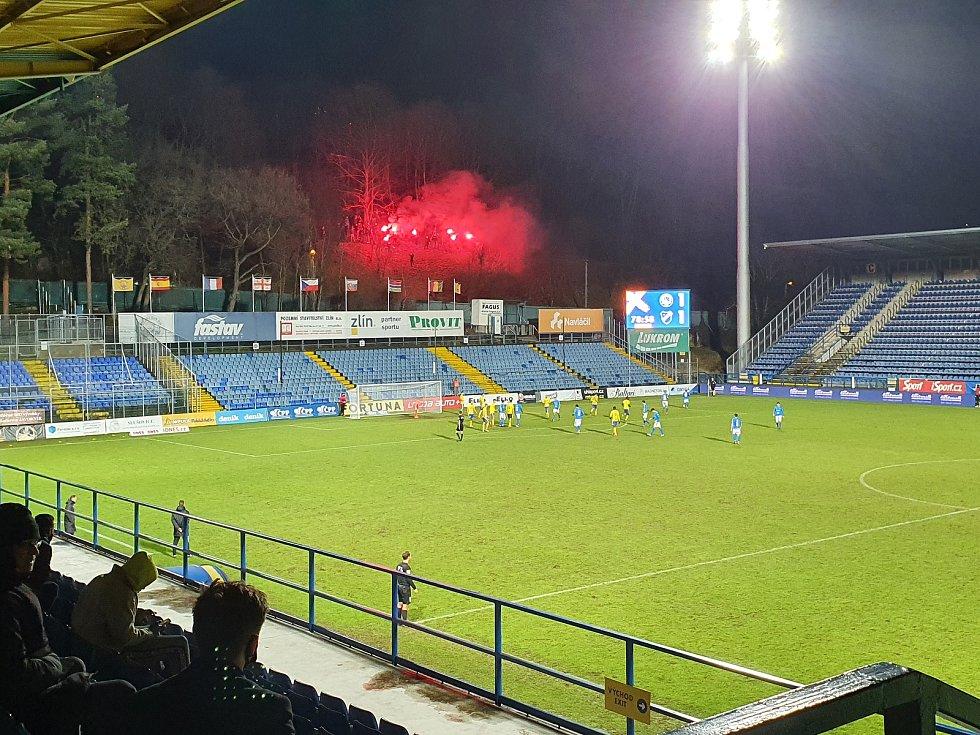 Fotbalisté Zlína (ve žlutých dresech) v 16. kole FORTUNA:LIGY hostili Baník Ostrava.