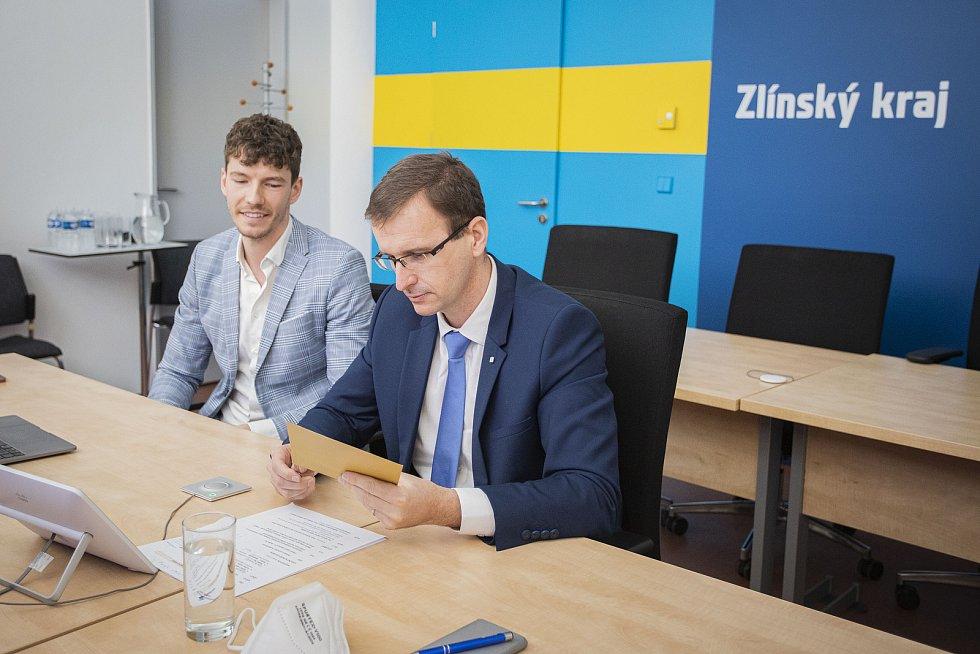 Podnikatel roku 2020 Zlínského kraje. Na snímku on-line udělování ocenění.