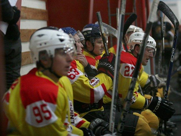 krajská liga mužů, HC Brumov-Bylnice (ve žlutém) - HK Kkroměříž. Ilustrační foto