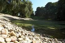 Odborná firma zbavuje rybník ve vizovické zámecké zahradě bahnitého sedimentu a provádí jeho revitalizaci.