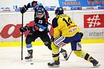 Hokejisté Zlína (ve žlutých dresech) zakončili letošní rok 2018 domácím zápasem s Libercem.