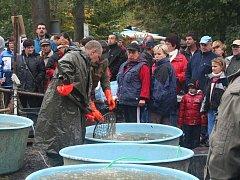 Řadu lidí na výlovu ryb ze Zboženínského rybníka zaujal i tamní hastrman.