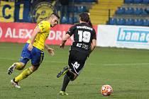 Fotbalisté Zlína (ve žlutých dresech) ve 22. kole FORTUNA:LIGY hráli doma s Českými Budějovicemi.