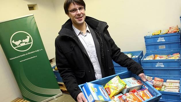 Slavnostní otevření potravinové banky na městském úřadě v Otrokovicích. Na snímku Jiří Růžička.