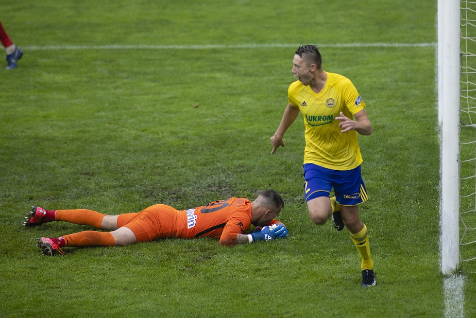 Zlín - Zápas skupiny o záchranu FORTUNA:LIGY mezi FC Fastav Zlín a SFC Opava. Vilém Fendrich (SFC Opava), Zlín gól.
