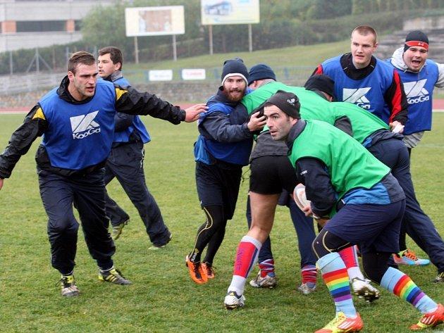 Příprava reprezentace ČR v rugby na Stadionu mládeže ve Zlíně.