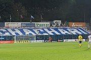 Fotbalisté Zlína (ve žlutých dresech) prohráli v předehrávce 9. kola FORTUNA:LIGY nad Baníkem Ostrava 1:2.