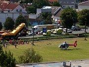 Havárie trolejbusu v Otrokovicích-Kvítkovicích.