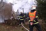 Požár chatky ve zlínské části Kudlov.