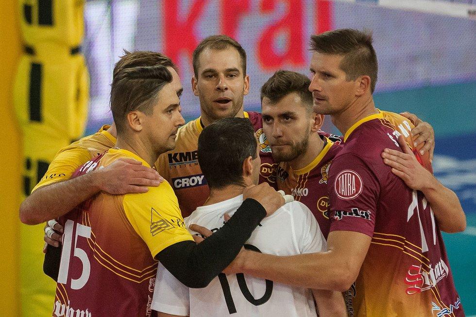 Utkání 1. kola volejbalové UNIQA Extraligy se odehrálo 1. října v Liberci. Utkaly se celky VK Dukla Liberec a Fatra Zlín. Na snímku je radost hráčů Liberce.