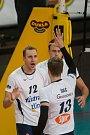 Utkání 1. kola volejbalové UNIQA Extraligy se odehrálo 1. října v Liberci. Utkaly se celky VK Dukla Liberec a Fatra Zlín. Na snímku je radost hráčů Zlína, vlevo Jiří Adamec.