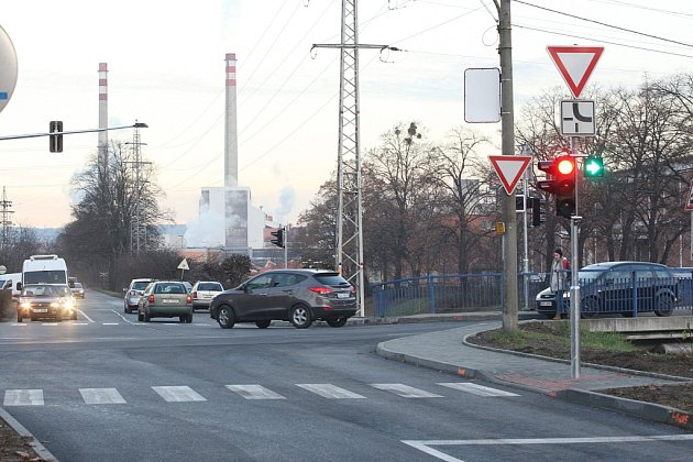 Křižovatka v Prštném ve Zlíně. Ilustrační foto