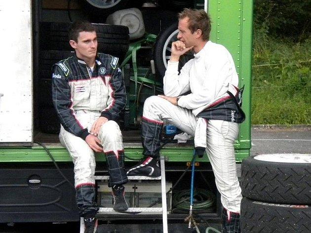 Tovární tým Škoda Motorsport i jeho jezdci Juha Hänninen a Jan Kopecký při testech před Barum rally na Valašsku v Malé Bystřici.