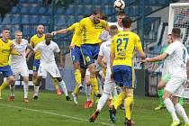 Fotbalisté Zlína (ve žlutých dresech) ve 25. kole FORTUNA:LIGY proti Liberci