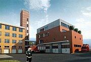 Poklepání základního kamene dostavby a rekonstrukce hasičské stanice ve Zlíně.Vizualizace