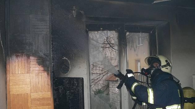 Vyhořelý byt v Otrokovicích