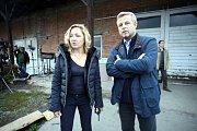 Natáčení filmu Metanol ve Zlíně.rezisérka Tereza Kopáčová a Vasil Fridrich