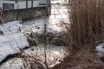 Voda z rozlitého potoku v Březové na Zlínsku ohrožovala okolní firmy a rozlila se i na okolní komunikace.