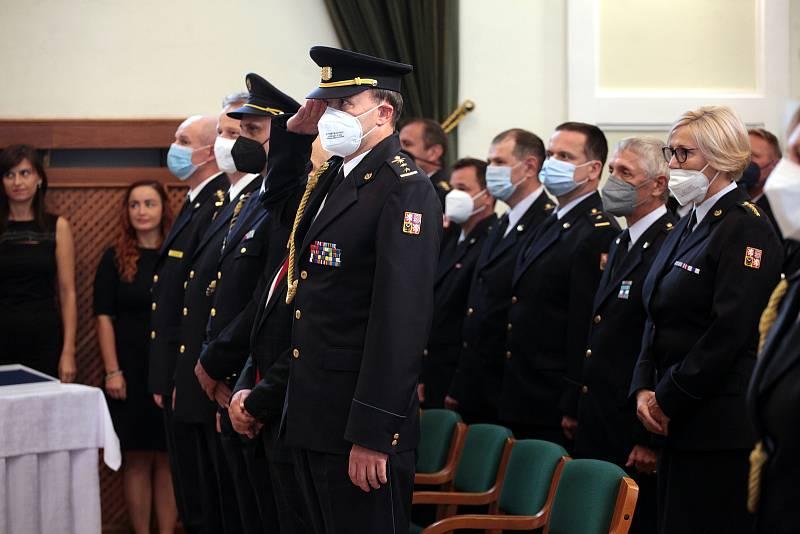 Předávání vyznamenání hasičům v Redutě v Uherském Hradišti.