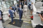 Premiér Andrej Babiš ve středu 14. července 2021 po setkání s novináři u zámku Wichterle ve Slavičíně při příležitosti své návštěvy Zlínského kraje.