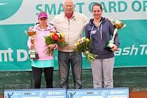 Rakušanka Melanie Klaffnerová (v bílém) ovládla 7. ročník mezinárodního tenisového turnaje žen kategorie ITF Smart Card Open Monet+ ve Zlíně, když v nedělním finále dvakrát přerušené deštěm bez větších problémů přehrála Slovenku Kristínu Kučovou