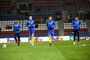 Fotbal FC FASTAV Zlín - FC Kodaň. rozcvičení před zápasem