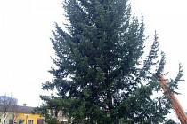 Instalace vánočního stromu v Otrokovicích