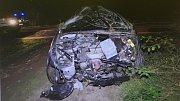 Nehoda peugeotu Valašských Klobouk