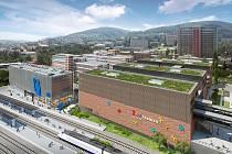 Pohled na FABRIKU a výpravní budovu drah ze strany Čepkova.Vizualizace zdroj: Cream Real Estate.
