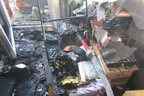 Požár bytu na II. segmentu na sídlišti Jižní svahy ve Zlíně.
