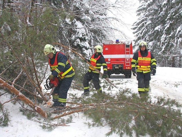 Hasiči vyjíždí na odstraňování spadlých stromů v celém kraji.