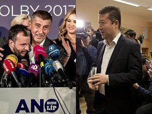 Zleva: z volebních štábů ANO 2011 a SPD.